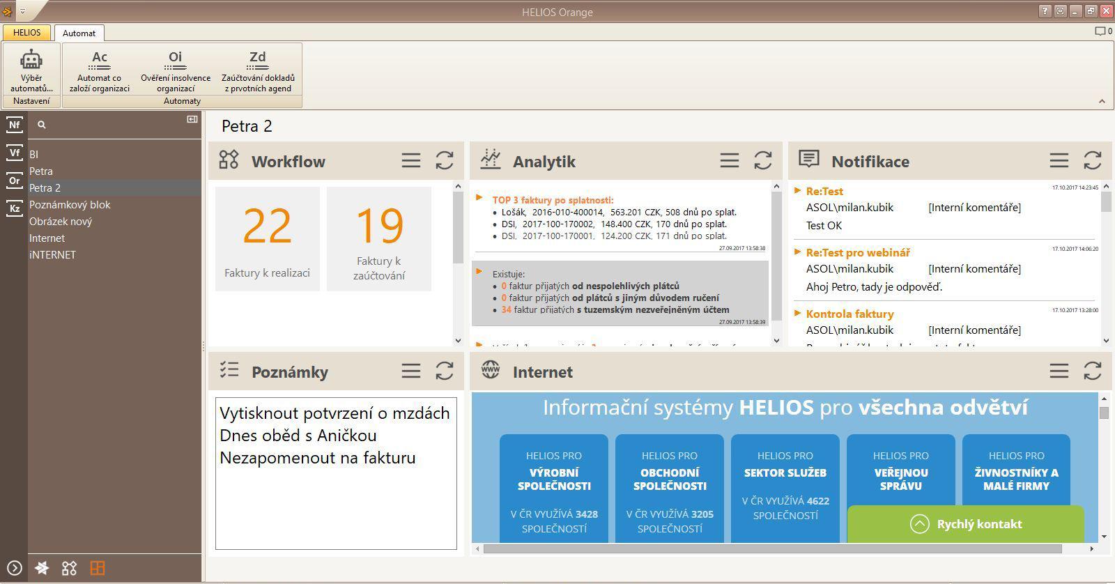 Uživatelské prostředí HELIOS Orange