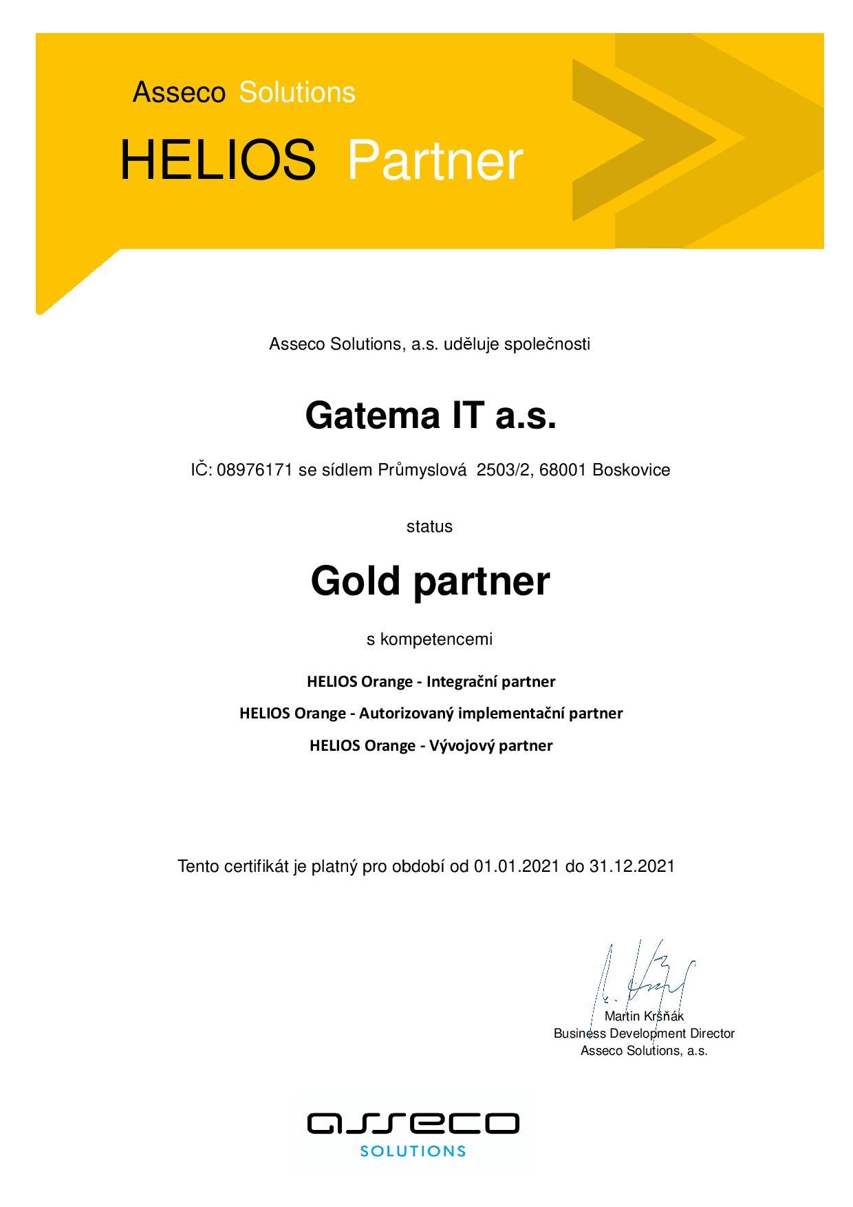 Certifikát Gatema HELIOS Gold partner