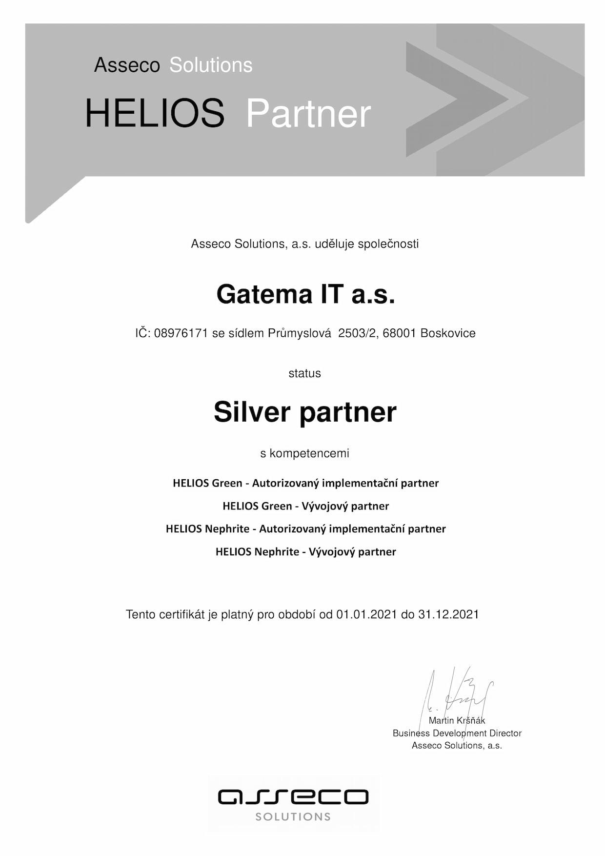 Certifikát Gatema HELIOS Silver partner